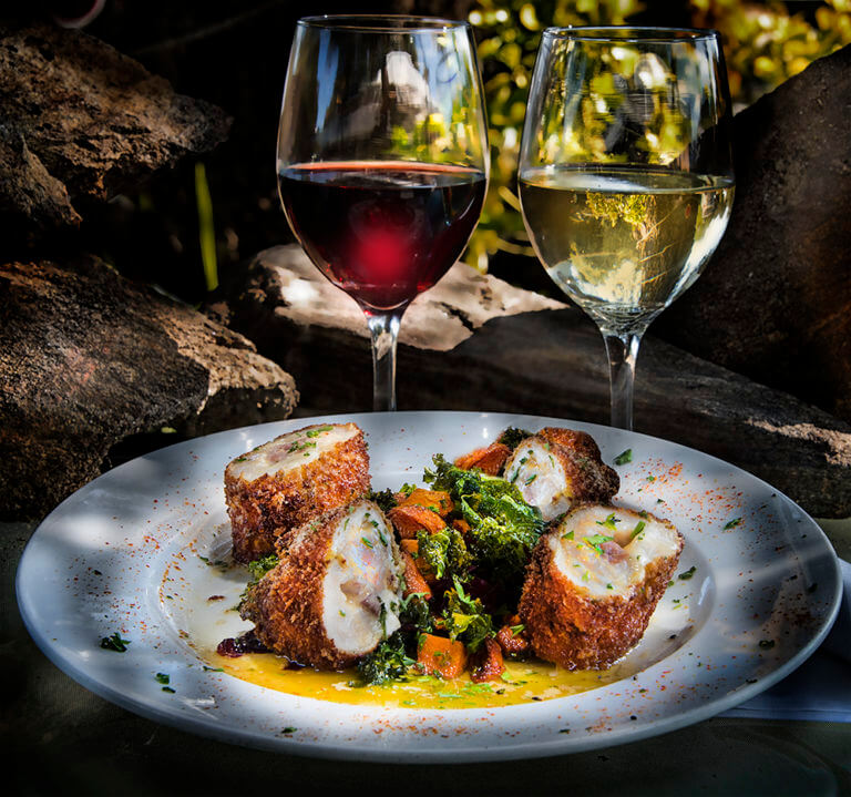 Chicken Cordon Bleu Stuffed with Prosciutto & Jarlsburg Cheese, with Lemon Beurre Blanc, Braised Red Cabbage and Butternut Squash-Kale Sauté Mary's Organic Chicken Breast