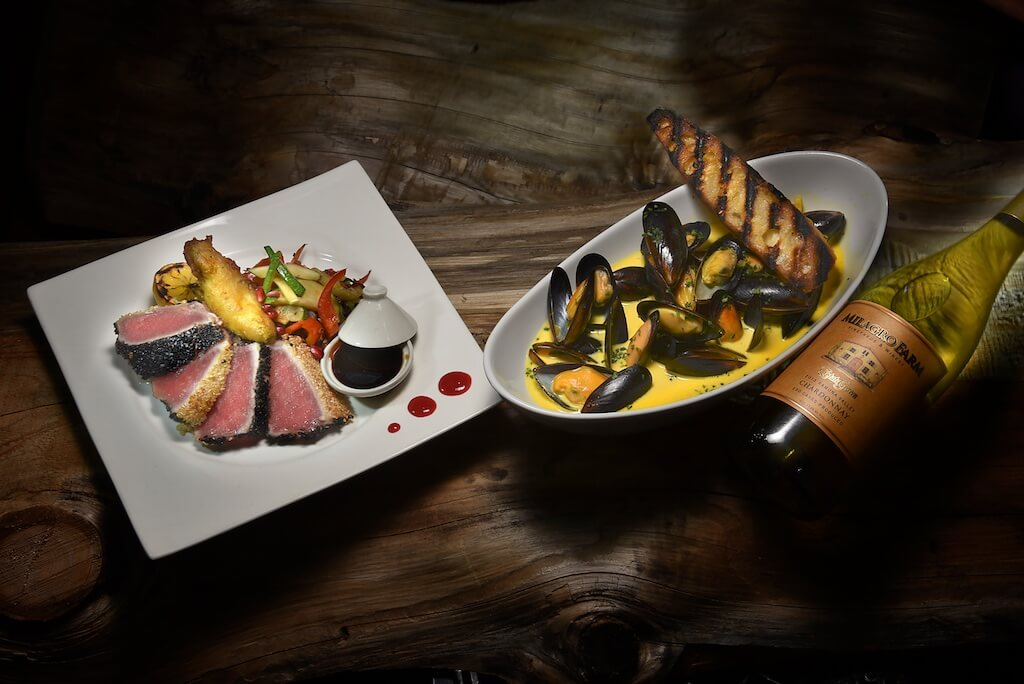 Sesame Checkerboard Ahi Tuna and Classic French Steamed Mussels in a Saffron White Wine Cream Sauce