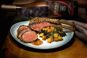 Pecan Crusted Rack of Lamb with Chef's Barbecue Sauce