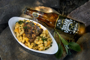 Mac & Cheese with Creamy Béchamel Sauce topped with Braised Pork Shoulder Julian Hard Cider