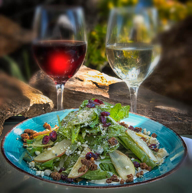 Julian Apple Salad with Mixed Organic Greens with Apples, Candied Nuts, Red Wine-Sage-Vinaigrette, Blue Cheese Dressing and Blue Cheese Crumbles