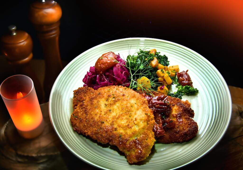 Classic Pork Snitzel with Braised Red Cabbage and Butternut Squash-Kale Sauté