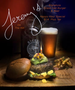 Menus & Specials - Jeremy's on the Hill