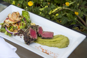 Sesame Checkerboard Ahi Tuna with Avocado Purée and Apple Cider Slaw